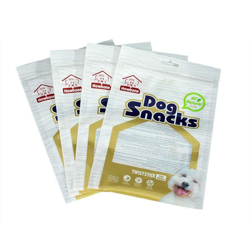 Three sides sealed translucent dog snacks bag