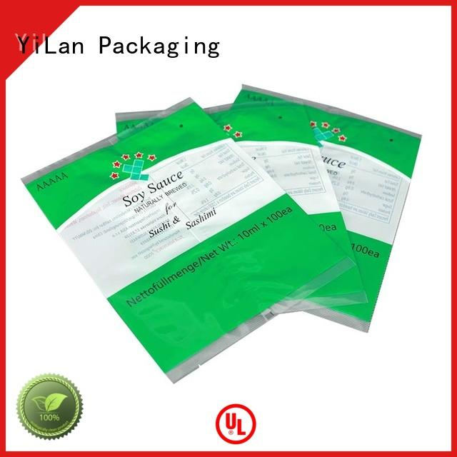 Wholesale bag center seal pouch YiLan Packaging Brand